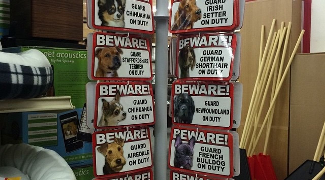 Beware of dog signs