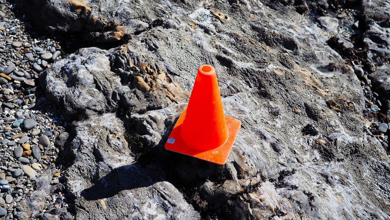 safety cone on the beach