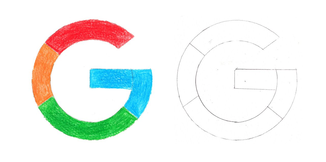 Google logo, saturated and unsaturated, color pencil